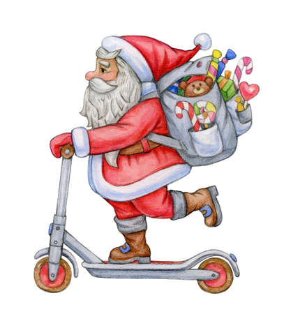 Santa Claus with scooter and gifts, isolated on white.  Watercolor illustration.