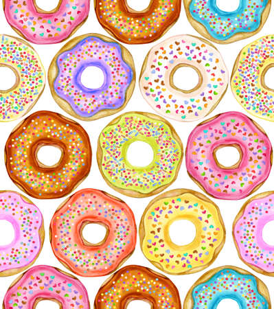 Colorful donuts seamless pattern, isolated on white.  Sweets background. Watercolor illustration.