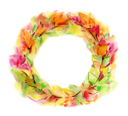 Autumnal  leaves circle frame, isolated on white.  Blurred effect. Watercolor illustration.