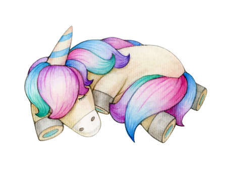 Cute sleeping unicorn, isolated on white. Watercolor illustration.