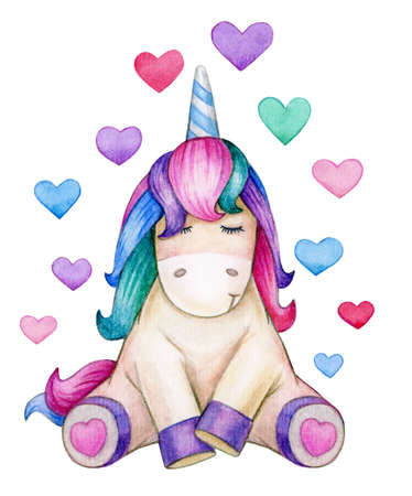 Cute, sitting unicorn with hearts, isolated on white. Watercolor illustration.