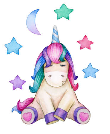 Cute, sitting unicorn, isolated on white. Watercolor illustration. Фото со стока