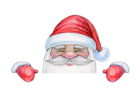 Santa Claus hiding by blank, isolated on white. Watercolor illustration.
