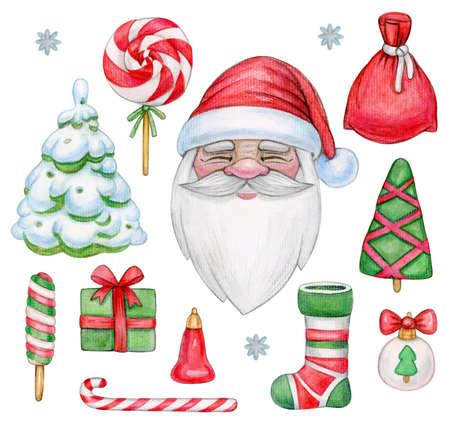 Santa Claus and Christmas elements set, isolated on white. Watercolor illustration.