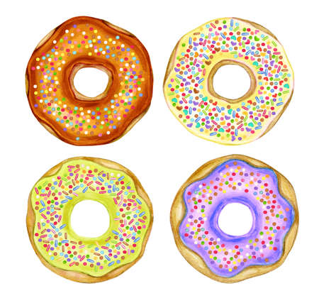 Colorful donuts isolated on white. Watercolor illustration.