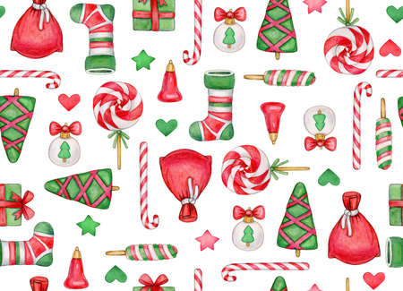 Christmas seamless pattern. Christmas symbols background, isolated on white. Watercolor illustration.