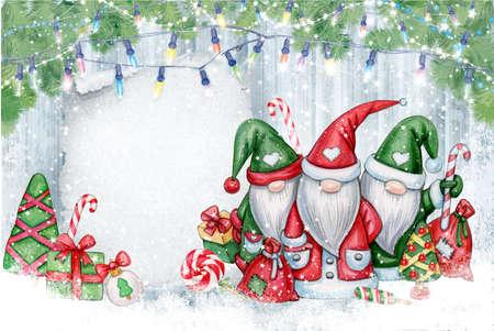 Christmas  gnomes  cartoons, greeting card for winter holidays. Merry Christmas greeting card.