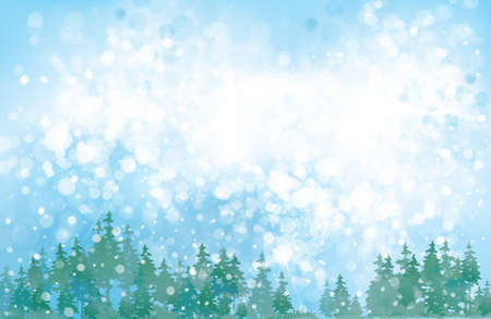 Vector winter background. Winter snowy landscape. Vettoriali