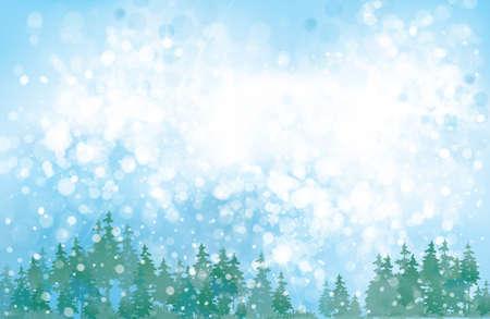 Vector winter background. Winter snowy landscape. Vektorové ilustrace