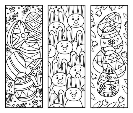 Vector Easter bookmarks for kids coloring.