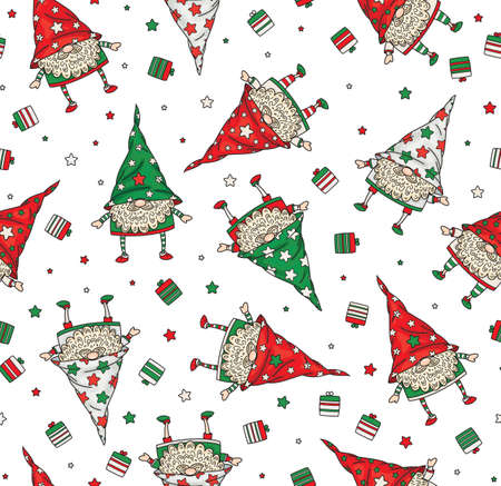 Vector Christmas seamless pattern of funny gnomes cartoons, isolated on white.