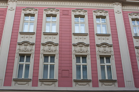 Facade of an historical house in the town of Ostrava, Czech Republic.