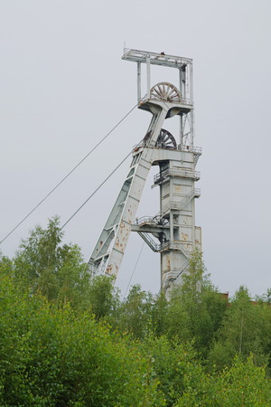 Hoist tower of the today abandoned uranium mine Rozna 2, Czech Republic.