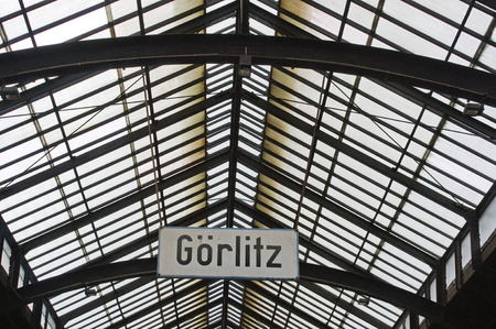 Railway station in Goerlitz, East Germany, historic departure hall with glass roof.