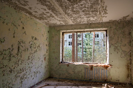 Interior of a ruined dwelling house of soviet soldiers and their families in the former military area Ralsko in northern Bohemia, Czech Republic. There lived thousands of soviet citizens in the settlement called Plouznice, during soviet occupation of the Czech Republic, between years 1968-1990. 免版税图像