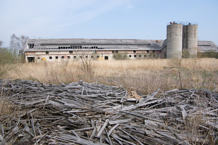 A ruin of big cow barn from the communist era near Mimon, Czech Republic. Once prosperous farm was turned into rubble.