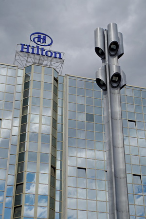 Glass facade of hotel Hilton in Prague