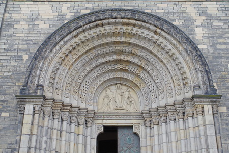 Neo-romanesque portal of Church of St. Cyril and Methodius in Prague