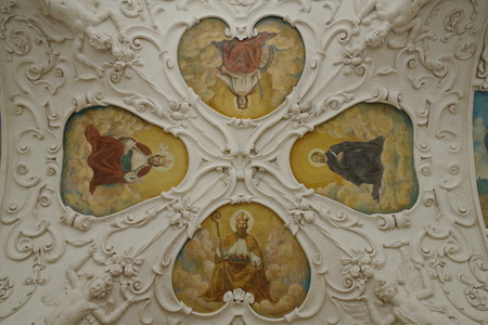 Painted vault in the cloister in the well-known baroque pilgrimage area on the Holy Mountain in Pribram, Czech Republic