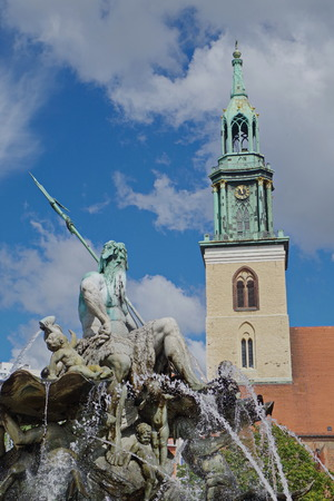 St. Marienkirche with Neptunbrunnen in Berlin