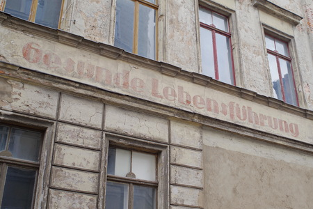 Facade of an abandoned house in Goerlitz Stock Photo