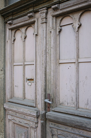Worn entry door in Loebau Stock Photo