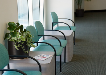 Waiting hall with chairs  A plants sits on the table  Stock Photo