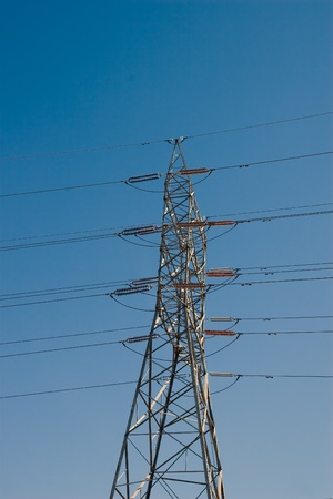 Electric power transmission lines  High voltages Stock Photo