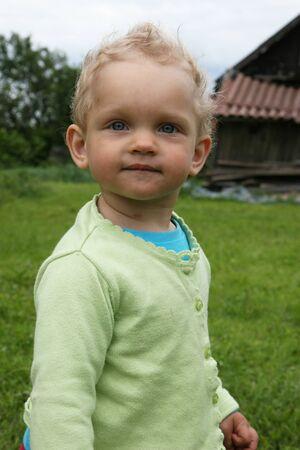 Baby looking ahead, close up 写真素材