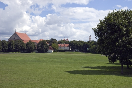 Field background in front of church photo