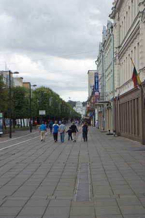 Walking path in city of Kaunas