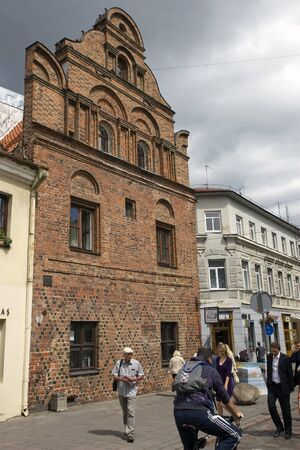 Walking people on the old city street