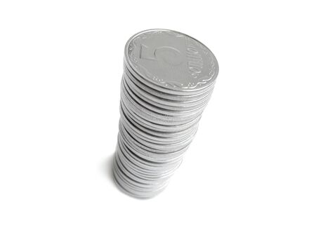 rouleau: Rouleau coins consist of many coins close-up Stock Photo