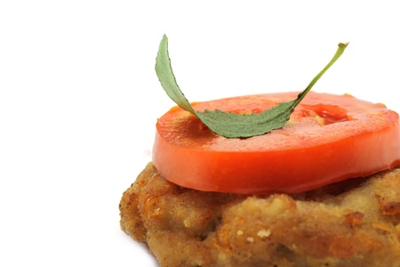eat right: Cutlet and tomato in the right corner
