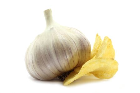garden stuff: Garlic and chips Stock Photo