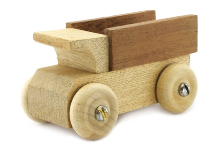 hand truck: Wooden truck toy on a white background