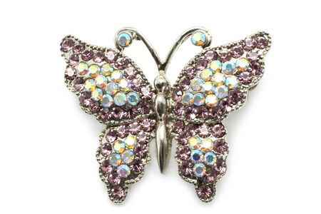 opal: Butterfly brooch on white a background