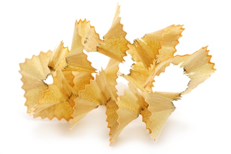 Pencil shavings close-up on a white background photo