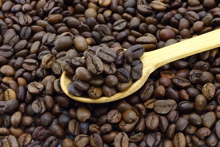 Coffee beans with wooden spoon close-up photo