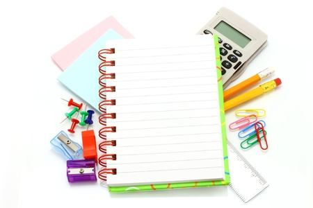 Stationery items on a white background photo
