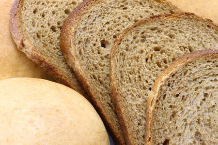 Bread close-up on a wooden background photo