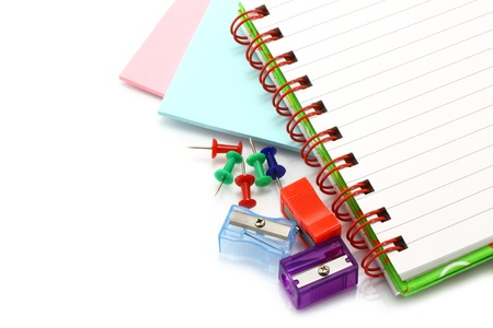 Stationery items close-up on a white background photo