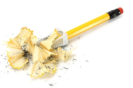sharpenings: Sharpening pencil and wood shavings on a white background