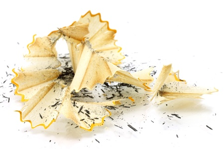Pencil shavings on a white background  photo