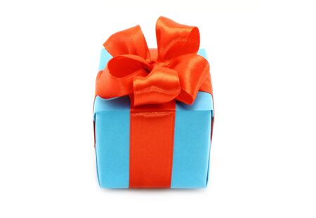 Present box with red bow on a white background photo