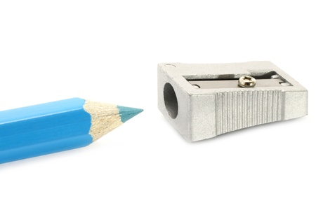 scobs: Pencil and sharpener on a white background