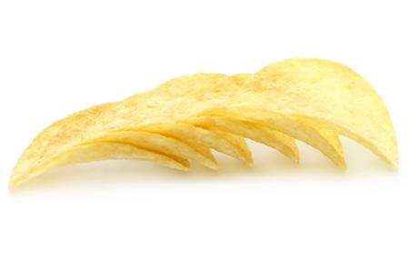 Heap of potato chips on a white background Stock Photo - 10973436