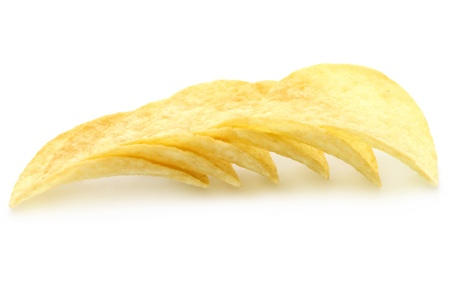 titbits: Heap of potato chips on a white background Stock Photo