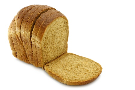 white goods: Cut bread on a white background Stock Photo