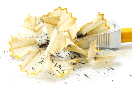 scobs: Sharpening pencil and wood shavings on a white background